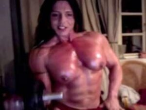 Busty Female Bodybuilder Nude Workout Session