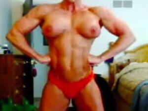Mature Muscle Woman Strip Dance Flex